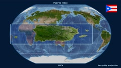 Puerto Rico - 3D tube zoom (Kavrayskiy VII projection). Satellite - stock footage