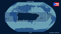 Puerto Rico - 3D tube zoom (Kavrayskiy VII projection). Solids Stock Footage