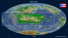 Puerto Rico - 3D tube zoom (Mollweide projection). Bumps shaded - stock footage