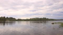 Marten River Provincial Park Boating under Clouds Stock Footage