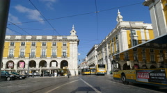 Streetscene at Praca do Comercio - stock footage
