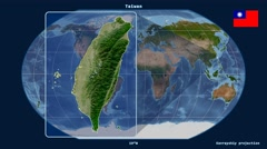 Taiwan - 3D tube zoom (Kavrayskiy VII projection). Satellite Stock Footage