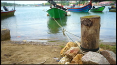 FULL HD fibreglass fishing boat tie to the stump at the bay, loop - stock footage