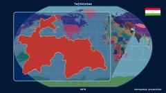 Tajikistan - 3D tube zoom (Kavrayskiy VII projection). Administrative - stock footage