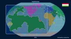 Tajikistan - 3D tube zoom (Kavrayskiy VII projection). Continents - stock footage