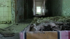 Bed in the abandoned camping. Smooth and slow dolly shot. Stock Footage
