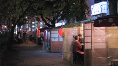 Yatai Food Stalls in Fukuoka, Japan Stock Footage