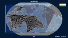 Tajikistan - 3D tube zoom (Kavrayskiy VII projection) - stock footage