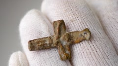 Vintage old antique cross Stock Footage