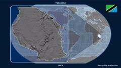 Tanzania - 3D tube zoom (Kavrayskiy VII projection). Bumps - stock footage