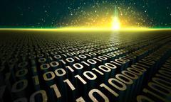 Shining digital castle in cyberspace Stock Illustration