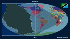 Tanzania - 3D tube zoom (Mollweide projection). Administrative Stock Footage