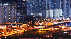 Car lights move fast on elevated highway road. Hong Kong high buildings at night Stock Footage