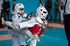 Orenburg, Russia - 23 April 2016: Taekwondo compete girls. Stock Photos