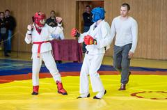 Orenburg, Russia - 14 May 2016: The boys compete in hand-to-hand fight Stock Photos