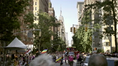 Empire State Building view from Lower 5th ave on Gay Pride Day in NYC Stock Footage