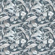 Pastel and Indigo Floral Texture Stock Illustration