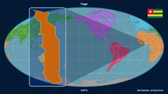 Togo - 3D tube zoom (Mollweide projection). Continents - stock footage