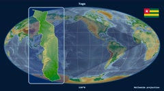 Togo - 3D tube zoom (Mollweide projection). Bumps shaded Stock Footage