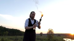 Circus Performer Drank Kerosene to Spit it Through the Fire. Stock Footage
