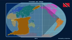 Trinidad and Tobago - 3D tube zoom (Kavrayskiy VII projection). Continents Stock Footage