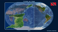 Trinidad and Tobago - 3D tube zoom (Kavrayskiy VII projection). Satellite Stock Footage
