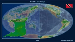 Trinidad and Tobago - 3D tube zoom (Mollweide projection). Bumps shaded Stock Footage
