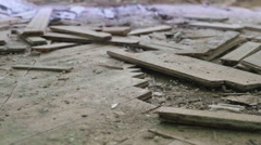 Broken parquet on floor in the abandoned hospital. Smooth and slow dolly shot. Stock Footage