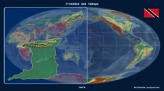 Trinidad and Tobago - 3D tube zoom (Mollweide projection). Relief Stock Footage