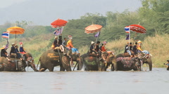 Songkran festival, Sukhothai, Thailand. Stock Footage