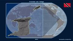 Trinidad and Tobago - 3D tube zoom (Kavrayskiy VII projection) Stock Footage