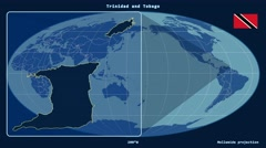 Trinidad and Tobago - 3D tube zoom (Mollweide projection). Solids Stock Footage