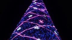 Christmas night view in Seoul square, Korea Stock Footage