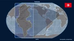 Tunisia - 3D tube zoom (Kavrayskiy VII projection). Bumps - stock footage