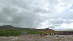 Geyser Strokkur the famous and tourist attraction geyser in the Golden Circle - stock footage