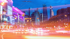 Traffic In Night Moscow-City. Stock Footage