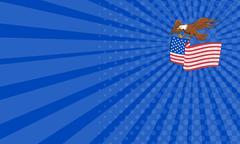 Business card American Bald Eagle Carrying USA Flag Cartoon Stock Illustration