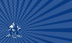 Business card Ice Hockey Goalie Retro Stock Illustration