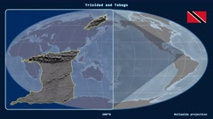 Trinidad and Tobago - 3D tube zoom (Mollweide projection) Stock Footage