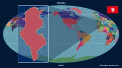 Tunisia - 3D tube zoom (Mollweide projection). Administrative - stock footage