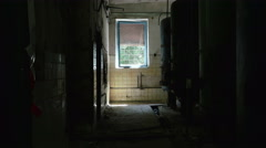 Boiler room in the abandoned factory. Smooth and slow dolly shot. - stock footage