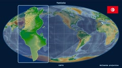 Tunisia - 3D tube zoom (Mollweide projection). Bumps shaded - stock footage