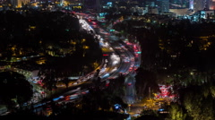 The 101 Freeway in Hollywood, Los Angeles, California Night Timelapse Stock Footage