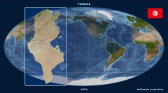 Tunisia - 3D tube zoom (Mollweide projection). Satellite - stock footage