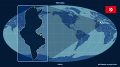 Tunisia - 3D tube zoom (Mollweide projection). Solids - stock footage