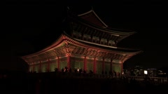 Korea night view,  Traditional Gyeongbokgung Palace in Seoul Stock Footage