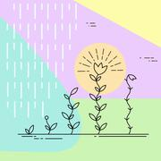 Growing plants. Geometric design in pastel colors - stock illustration