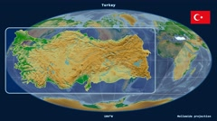 Turkey - 3D tube zoom (Mollweide projection). Bumps shaded Stock Footage