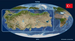 Turkey - 3D tube zoom (Mollweide projection). Satellite Stock Footage
