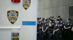 police department - NYPD officers gathered on street in NYC - stock footage